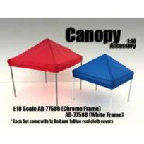 American Diorama - Figurines Canopy 1xToile Rouge + 1x toile Bleu- Barre Chrome - 1/18 - 77586