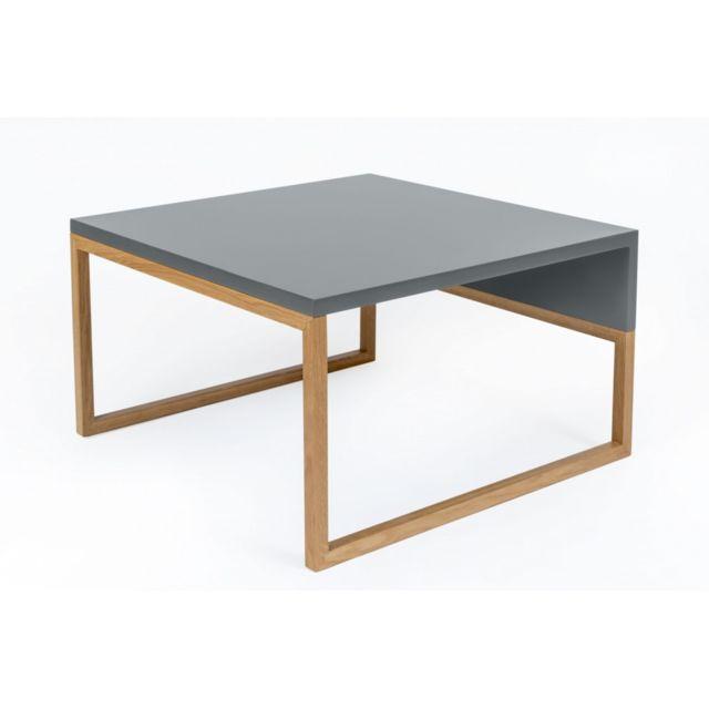 HELLIN Table basse carrée bois et gris 60 - AVALON