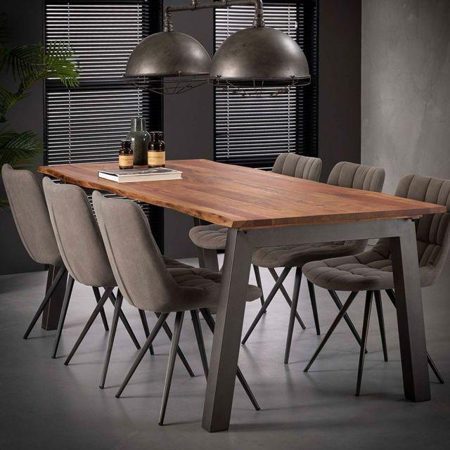 Nouvomeuble Table 240 cm en bois massif et acier Penny