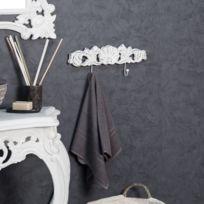 Wanda Collection - Porte serviette mural double crochet baroque blanc