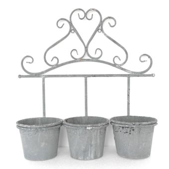 alin a trio jar triple porte plante rond en m tal gris. Black Bedroom Furniture Sets. Home Design Ideas
