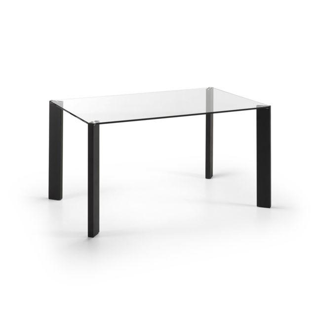 Kavehome Table pas et verre Spot 140x90 cher cmnoir F1cKlJ
