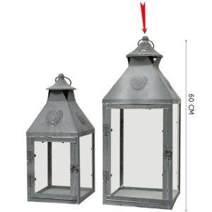 Chemin de campagne grande lanterne temp te de style ancienne en fer m tal 60 cm gris 22cm x - Grande lanterne de jardin ...