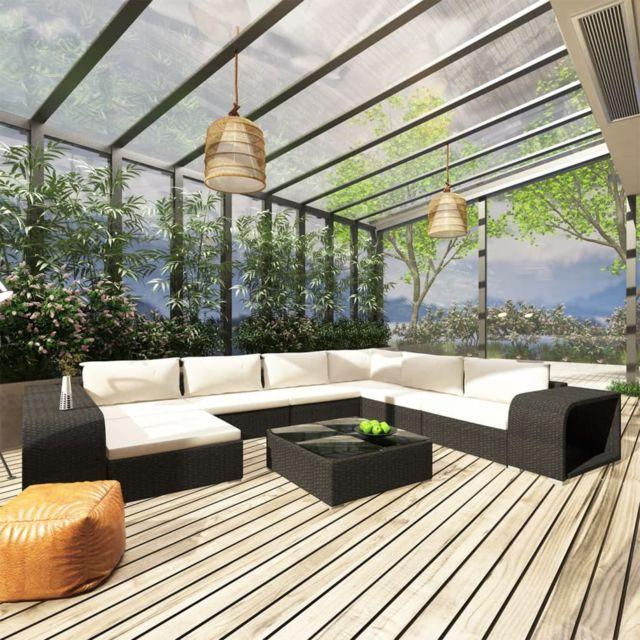 Vidaxl Salon de jardin 10 pcs avec coussins Résine tressée Noir