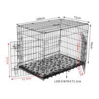 PAWHUT - Cage caisse de transport pliante pour chien en métal noir 106 x 71 x 76 cm matelas fourni 34