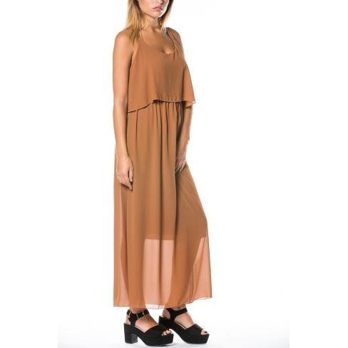 e8dd5e2ce03af Princesse Boutique - Robe longue fluide Camel dos croisé - pas cher ...