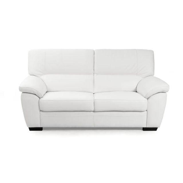 CANAPE - SOFA - DIVAN STEPHANO Canapé 2 places - Cuir et simili blanc - L 155 x P 94 x H 91 cm