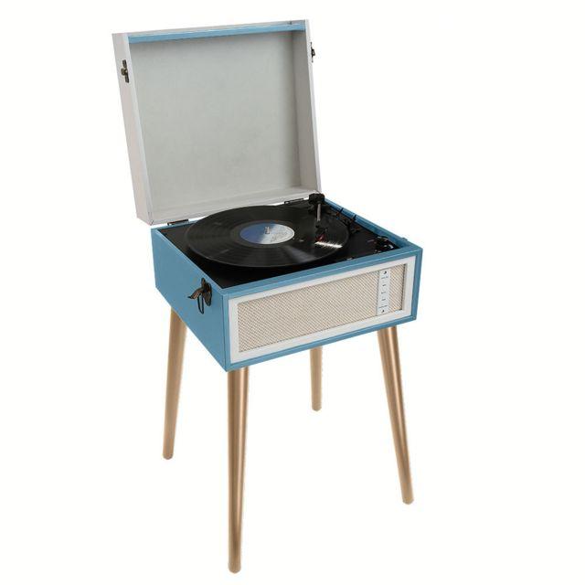 CLIP SONIC - clipsonic - platine vinyle/sd/usb stéréo 3 vitesses 33/45/78t bleu sur pieds - tes190b