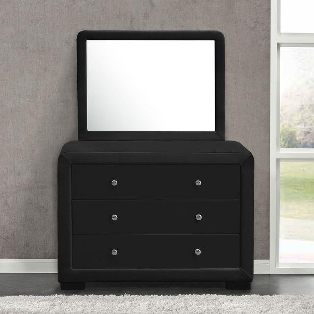 CONCEPT USINE Lucay reflet noir : commode de chambre 3 tiroirs + 1 miroir en simili noir