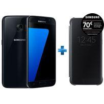 Samsung - Galaxy S7 SGH-GALAXY-S-7 + - Clear View Cover pour Galaxy S7 - Noir EF-ZG930CBEGWW