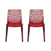 VENTE-UNIQUE - Lot de 2 chaises empilables DIADEME - Polycarbonate plein - Rouge