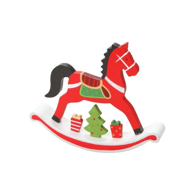 cheval bascule de no l en bois cm pas cher achat vente d corations de no l. Black Bedroom Furniture Sets. Home Design Ideas