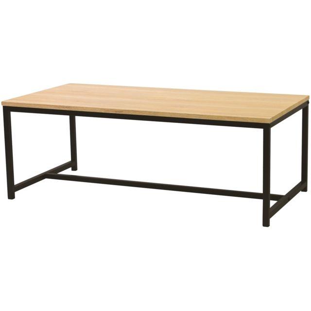 Promobo Table Basse De Salon Etagere Rangement Style Loft 100 X 50
