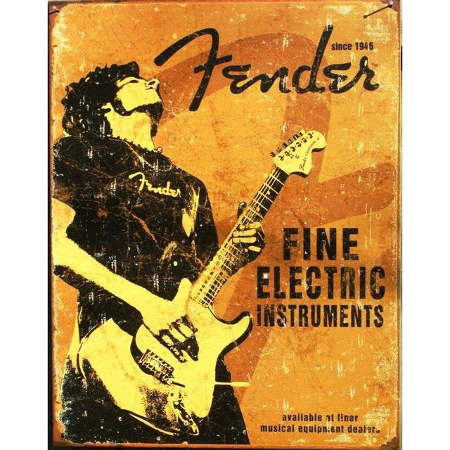 Universel Plaque fender fine electric guitariste deco us affiche jaune
