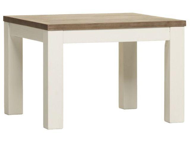 COMFORIUM Table de salle à manger de 180 cm en acacia massif coloris blanc et havana
