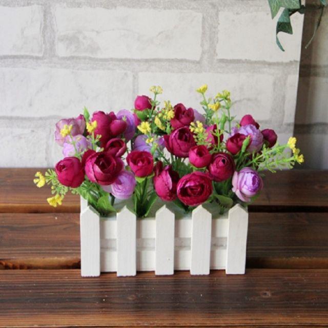 Wewoo Fleurs Artificielles 16cm Clôture En Bois Petit Thé Bourgeon Jardin Simulation Kit Fleur Pots De Plantes Balcon Décor Vi