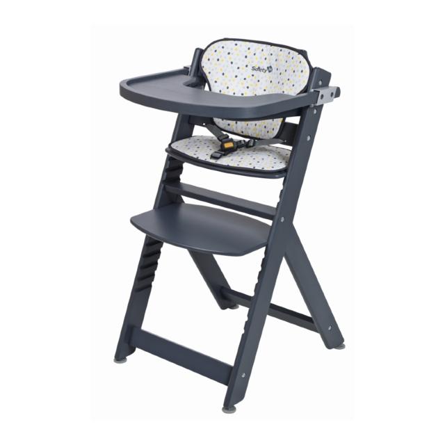 SAFETY 1ST Chaise haute bébé TIMBA - Coussin inclus - Grey Patches Chaise haute évolutive qui s'ajuste selon la taille de votre enfant, idéal pour partager des repas en famille.