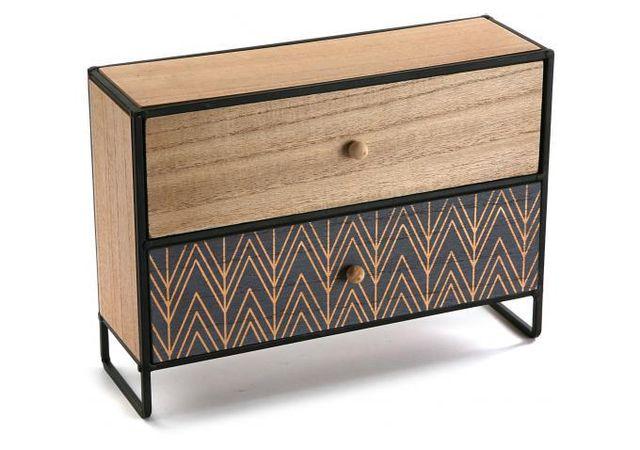 declikdeco boite a bijoux en bois 2 rangements cyanite. Black Bedroom Furniture Sets. Home Design Ideas