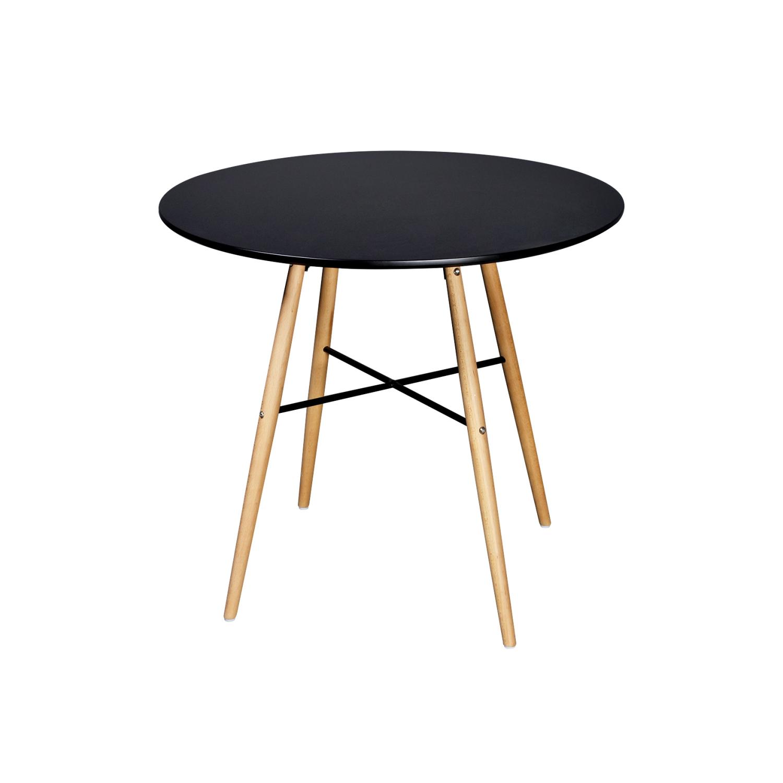 VIDAXL - Table de salle à manger ronde noire mat 80cm x 80cm x 72cm