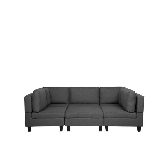 BELIANI Canapé panoramique modulable gris foncé 5 places avec pouf ottoman FEVIK - gris foncé