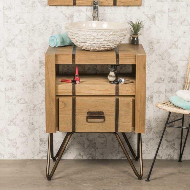 Wanda Collection Meuble de salle de bain en mindi naturel et métal 60 Loft