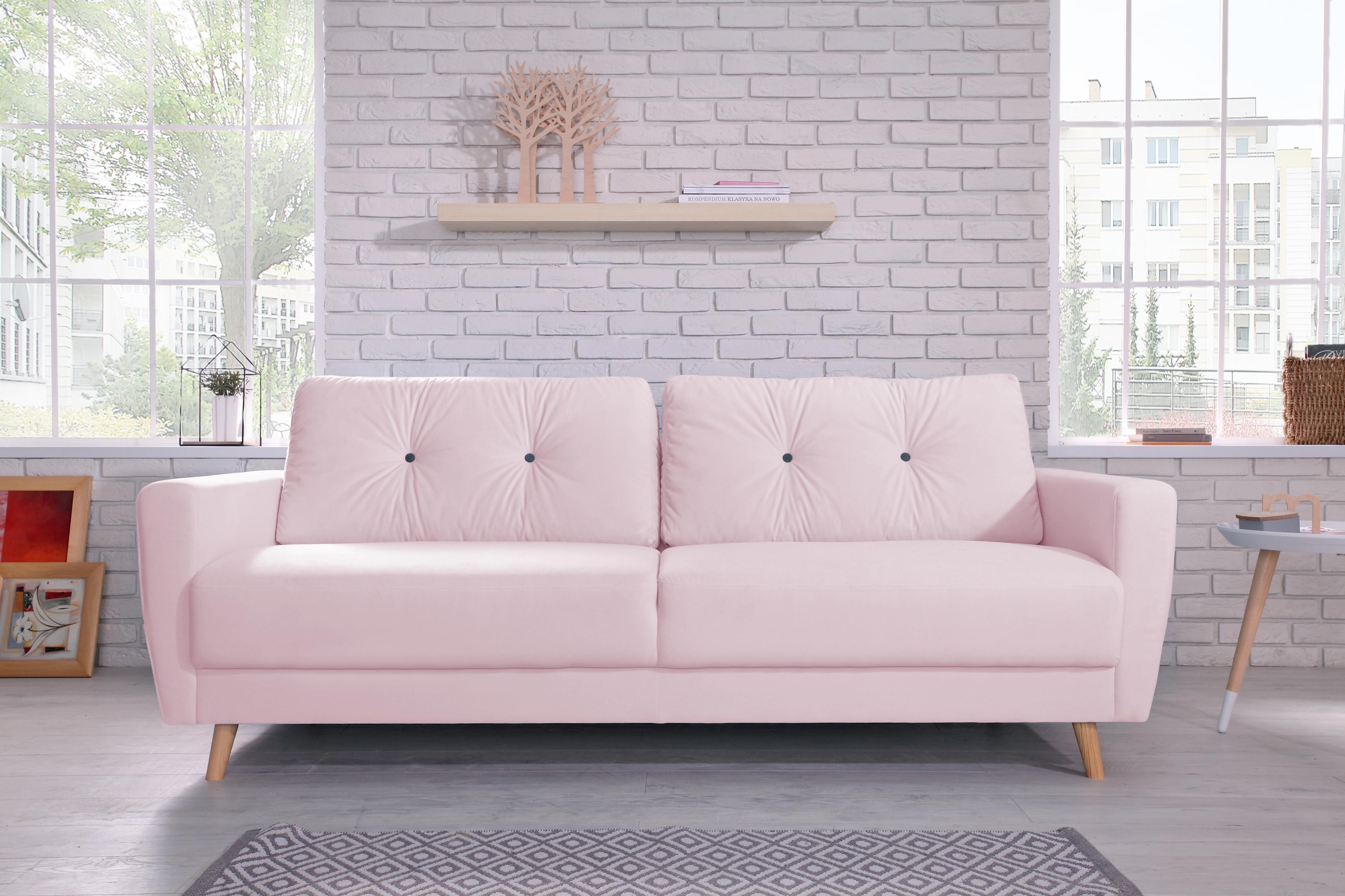 bobochic oslo canap 3 places rose poudr achat vente canap s pas chers rueducommerce. Black Bedroom Furniture Sets. Home Design Ideas