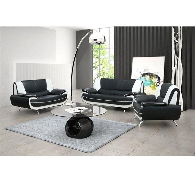 COMFORIUM - Canapé 2 places design en simili cuir noir et blanc design Nino Blanc, Noir - 160cm x 88cm x 88cm