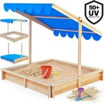 Rocambolesk - Superbe Bac à sable enfants 120x120cm Marquise bleu toit hauteur réglable et inclinable Neuf