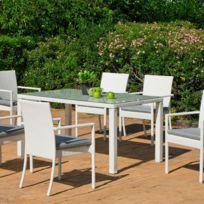 Ensemble table et chaises de jardin Torga 6 places Blanc Io_31571