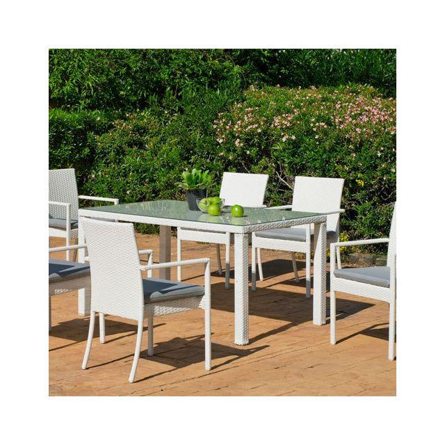 Hevea Jardin Ensemble table et chaises de jardin Torga 6 places Blanc Io_31571