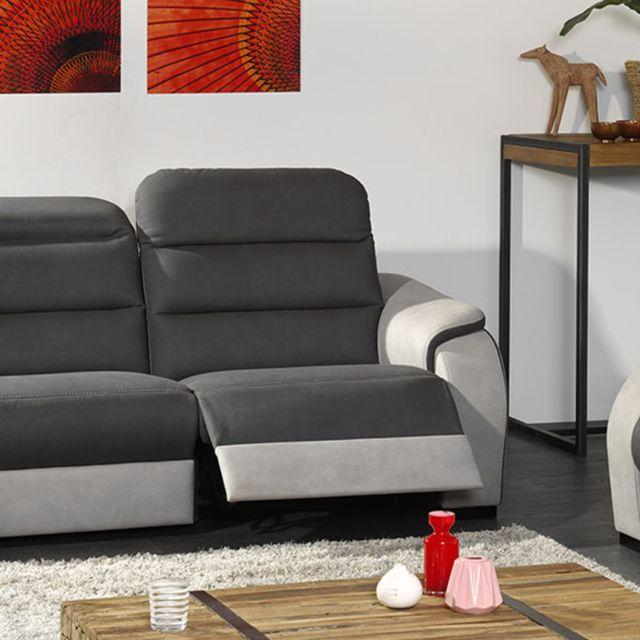 KASALINEA Canapé en tissu 2 places gris TOBIAS - Avec relax électrique
