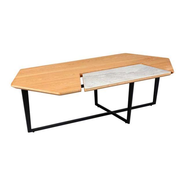 Tousmesmeubles Table basse hexagonale Acier/Bois/Céramique - Tocsa