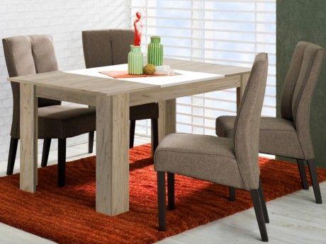 Marque generique table manger berylla 6 couverts coloris ch ne blanc pas cher achat for Carrefour table a manger
