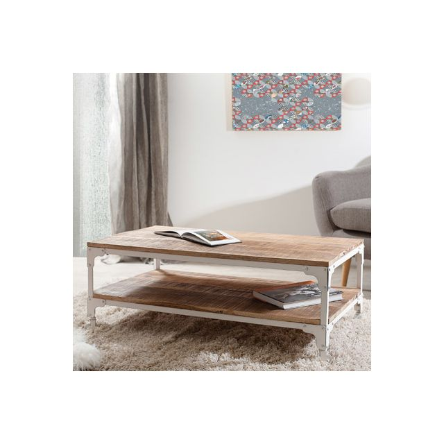 Table basse industrielle double plateau Ulysse