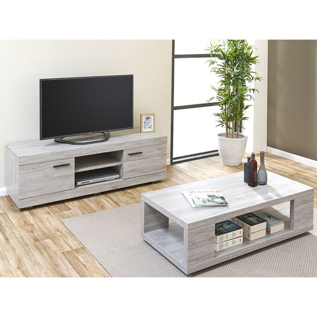 Altobuy Tom Ensemble Table Basse Meuble Tv Gris Pas Cher