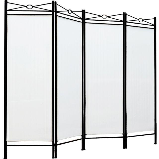Justdeco - Superbe Paravent - 4 panneaux - Cadre en métal laqué - Cloison 180x163cm - Maison Neuf