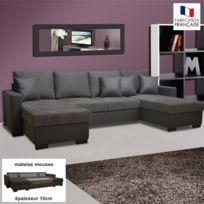- Canapé convertible double méridienne Pu-microfibre coloris gris