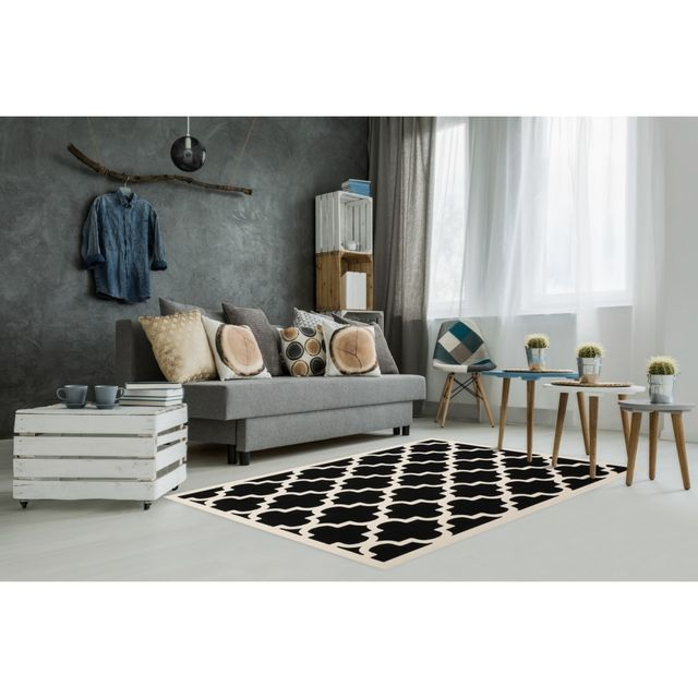 tapis scandinave noir et blanc pas cher. Black Bedroom Furniture Sets. Home Design Ideas