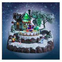 Jja - Village de Noël père Noël animé, musical et lumineux