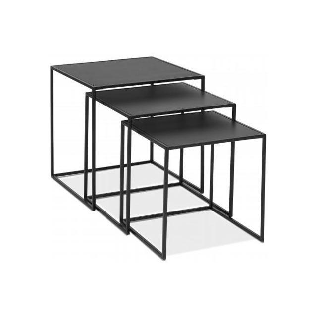 Declikdeco Lot de 3 Tables Basses Gigognes Carrées Noir et Piétement en Métal Noir Ticot