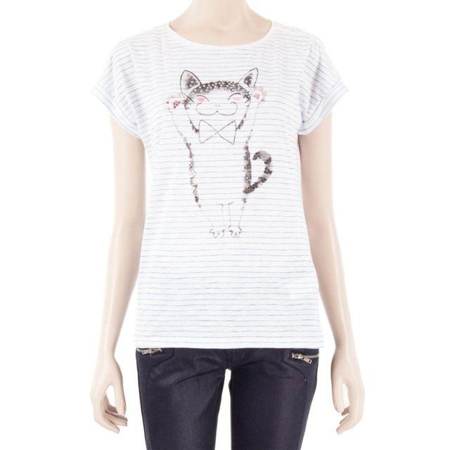 186ba23050bb Best Mountain - T shirt blanc rayé bleu imprimé et sequins femme Best  Mountain