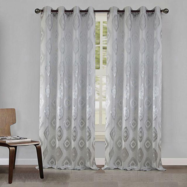 best interior paire de rideaux losange ethnique blanc dimensions 140x260 pas cher. Black Bedroom Furniture Sets. Home Design Ideas