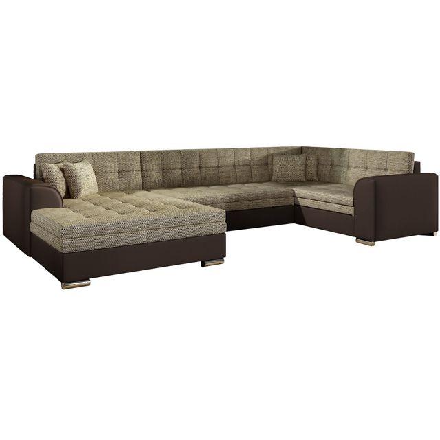 COMFORIUM - Canapé d angle convertible 6 places en tissu cappuccino ... f5cb5f9f2b70