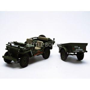 autoart jeep willys avec remorque et accessoires 1 18 74016 pas cher achat vente. Black Bedroom Furniture Sets. Home Design Ideas