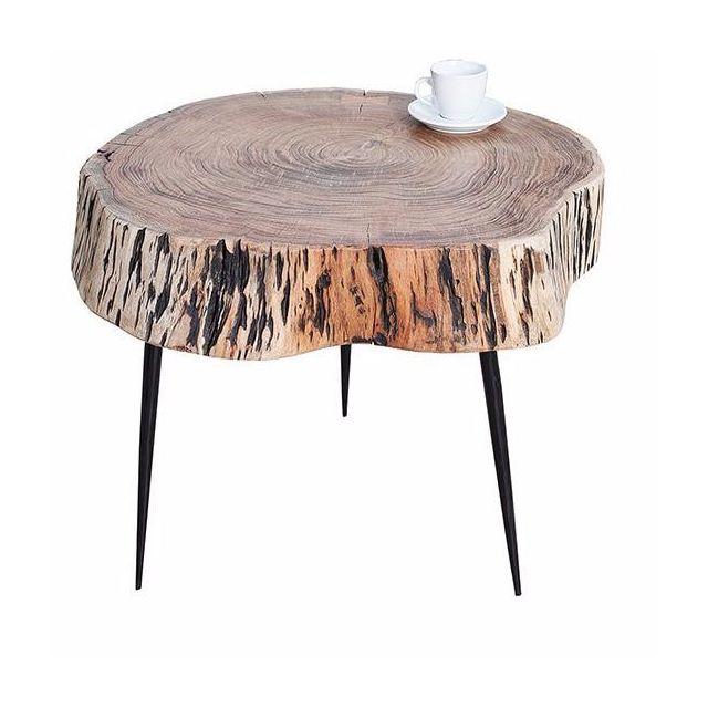 Comforium Table basse 60 cm avec plateau en bois acacia massif et 3 piétements en métal