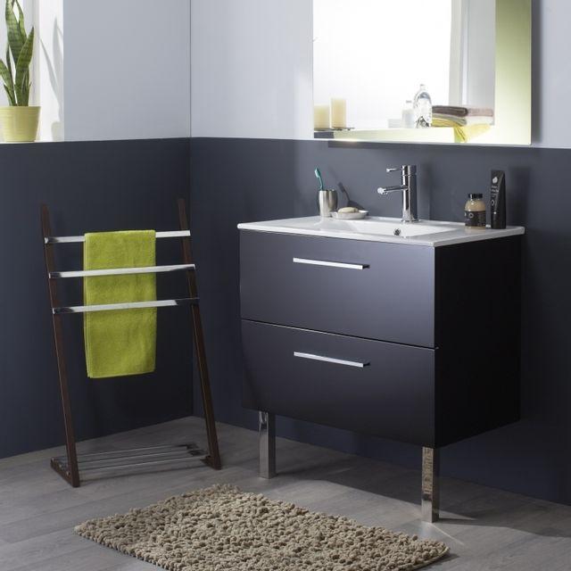Planetebain meuble de salle de bain noir laqu brillant en 80 cm pas cher achat vente - Meuble salle de bain 80 cm pas cher ...