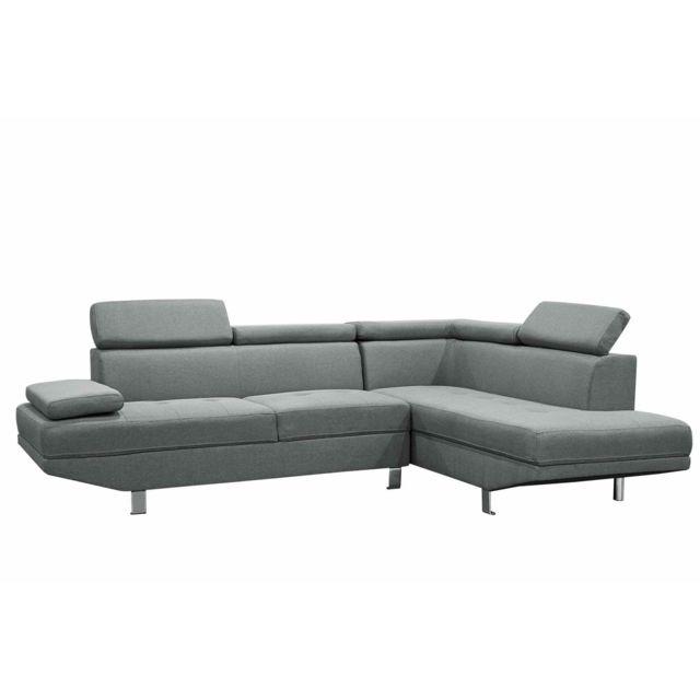 La Chaiserie Canapé design d'angle droit tissu gris Léo