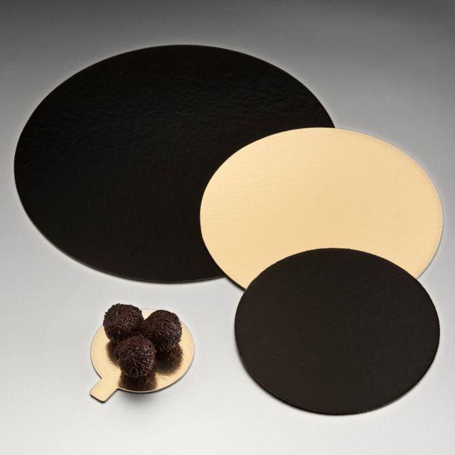 az boutique carton rond or et noir pour p tisserie 20cm lot de 100 carton p tisserie. Black Bedroom Furniture Sets. Home Design Ideas