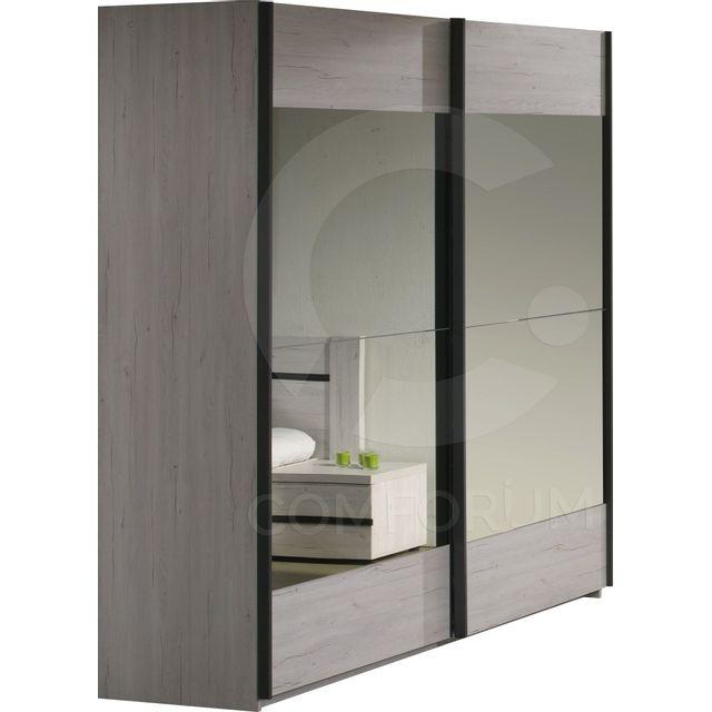 Comforium Armoire 220x216 Cm à 2 Portes Coulissantes Avec Miroirs