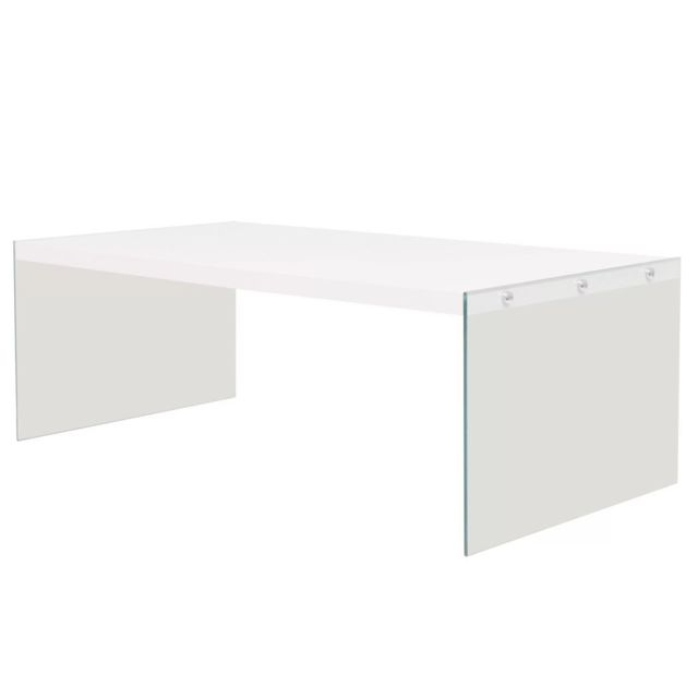 Vidaxl Table Basse Mdf Verre Brillant Blanc Table de Salon Table d'Appoint